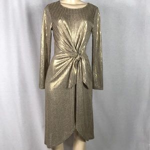A new day gold front tie dress